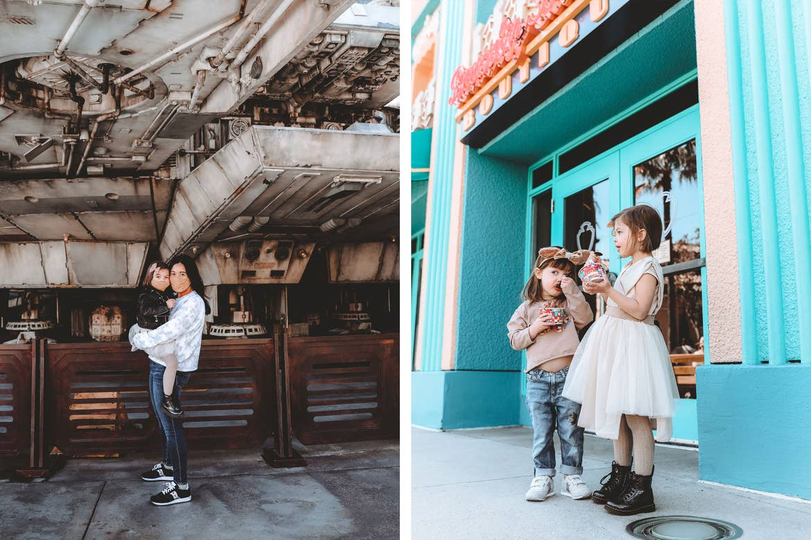 Left: Mia and Roux in front of the Millenium Falcon at Hollywood Studios® at Walt Disney World® Resort wearing sweaters and jeans. Right: Poppy Bleu (left) and Roux (right) enjoy a frozen treat.