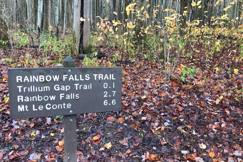 A trail sign that reads, 'RAINBOW FALLS TRAIL, Trillium Gap Trail 0.1, Rainbow Falls 2.7, Mt. LeConte 6.6'