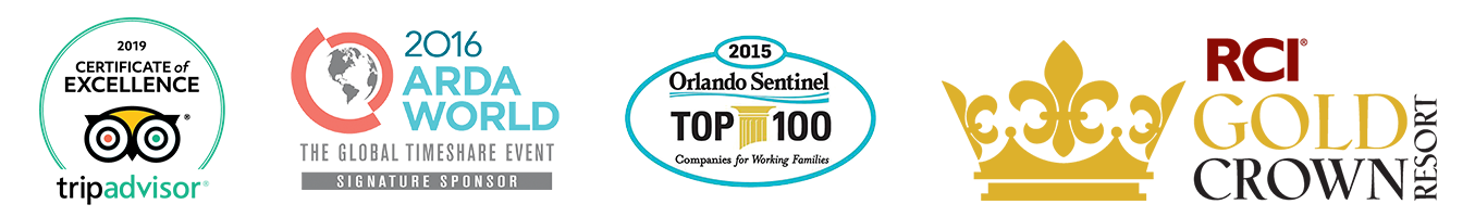 2019 Trip Advisor Certificate of Excellence, 2016 ARDA World, Orlando Sentinel Top 100, RCI Gold Crown