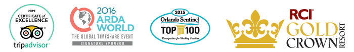 2019 Trip Advisor Certificate of Excellence, 2016 ARDA World, Orlando Sentinel Top 100, RCI Gold Crown