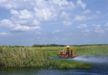 An airboat going through the Everglades