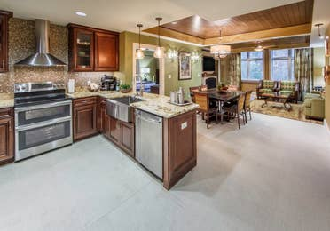Kitchen with stainless steel appliances in a villa at Smoky Mountain Resort in Gatlinburg, Tennessee.