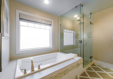 A bathroom in a Signature Collection villa at South Beach Resort in Myrtle Beach, South Carolina.