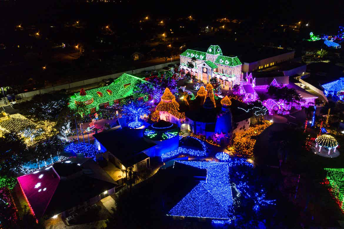 An aerial view of Give Kids the World Village decked out in string lights for the 'Night of a Million Lights' events.