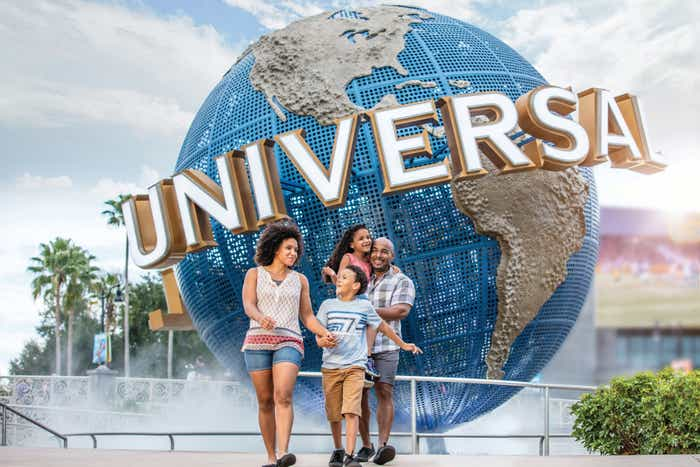 Family of four standing in front of the Universal Orlando globe