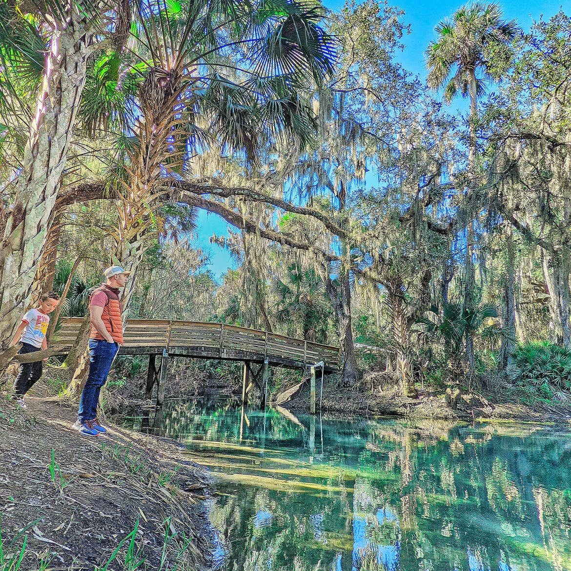 A man (right) and a young boy (left) stand near the edge of a creek and trail bridge at Gemini Springs Park in Florida.