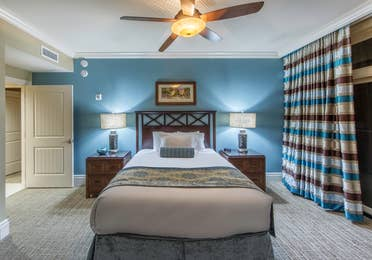 Bedroom in a Signature Collection villa at Smoky Mountain Resort in Gatlinburg, Tennessee.