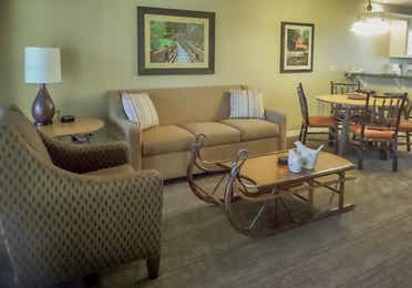 Living room In a two-bedroom villa at the Holiday Hills Resort in Branson Missouri.