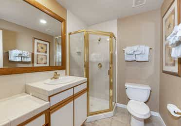 Bathroom in a Ridge Pointe studio villa at Tahoe Ridge Resort