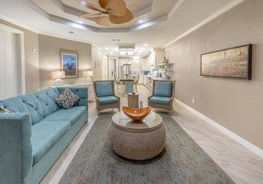 Living room in a two-bedroom Signature Collection villa at Galveston Seaside Resort