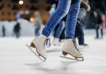 Image of people ice skating at the Adventure Center, near Lake Geneva Resort, Lake Geneva, WI.