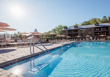 Outdoor pool at Oak n' Spruce Resort in South Lee, Massachusetts.