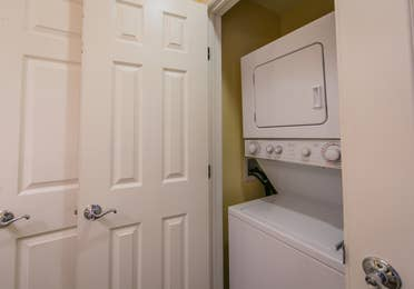 In-unit washer and dryer in a one-bedroom Presidential villa at Hill Country Resort in Canyon Lake, Texas