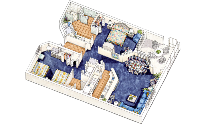 East Village two-bedroom villa floor plan