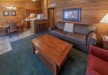 Living room in a cabin at Holly Lake Resort in Holly Lake Ranch, Texas.