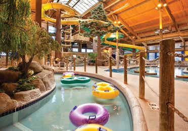 Indoor lazy river with inter-tubes near Lake Geneva Resort