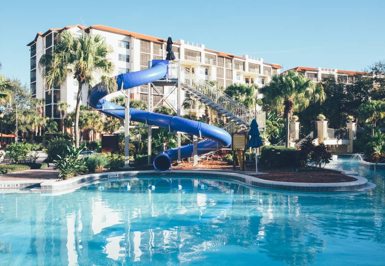Pool with water slide in River Island at Orange Lake Resort near Orlando, Florida