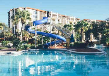 Pool with water slide in River Island at Orange Lake Resort near Orlando, Florida