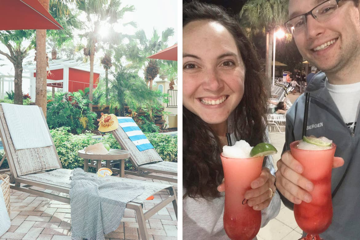 Left: Sun chairs under umbrellas in River Island at Orange Lake Resort near Orlando, Florida. Right: A caucasian woman (left) and man (right) hold fruity alcoholic beverages in a pink hurricane glass.
