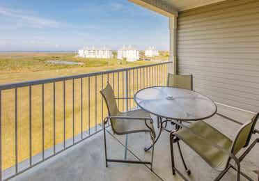 Balcony in a three-bedroom ambassador villa at Galveston Seaside Resort