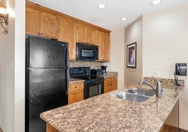 Kitchen in a Ridge Tahoe two-bedroom villa at Tahoe Ridge Resort