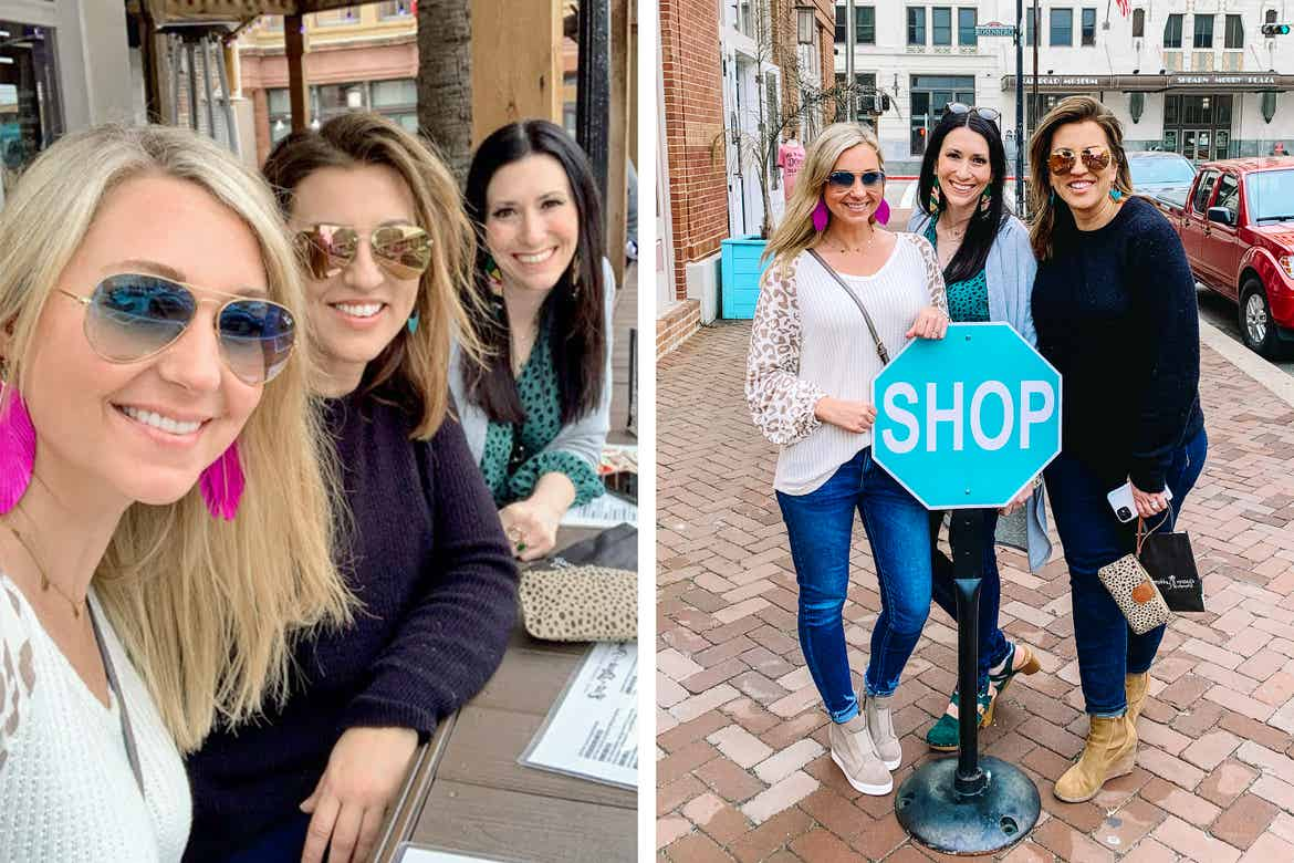 Right: Featured Contributor, Amanda Nall (left) poses with her two friends at a restaurant in historic downtown Galveston, Tx. Left: Amanda(left) poses with her two friends behind a blue 'STOP' sign that read 'SHOP'.
