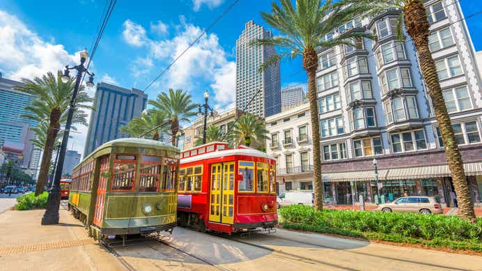Two streetcars in New Orleans, LA