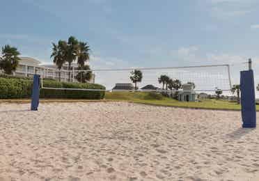 Sand volleyball court at Galveston Seaside Resort