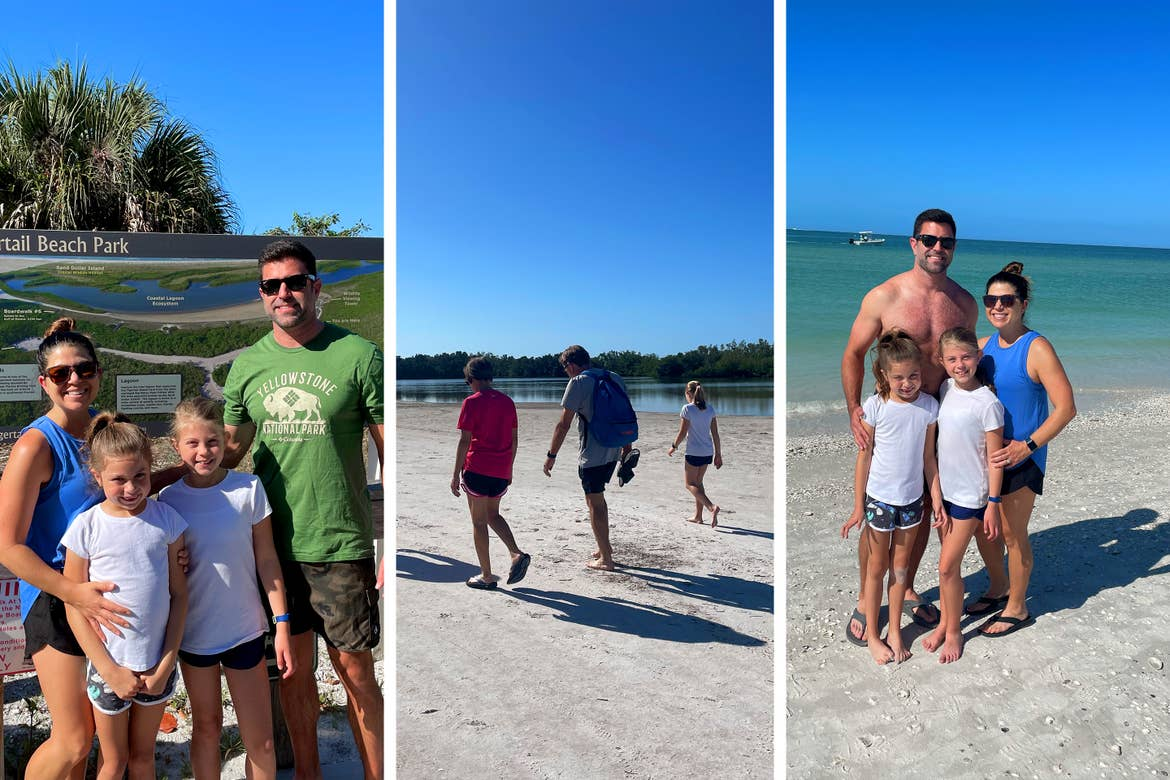 Left: A caucasian family of four stand in front of a trail map with Palm Trees in the Back. Center: A caucasian woman (left), man (middle) and girl (right) walk on a sandy beach. Right: A caucasian family of four stand on a beach.