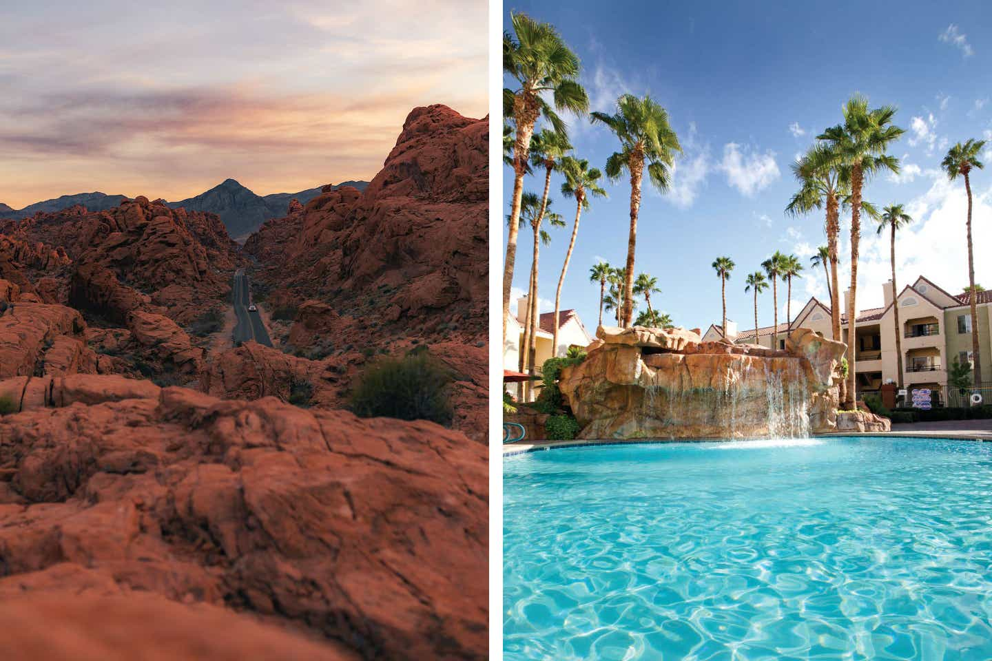 Left: Valley of Fire state Parks rolling rock formations alongside the road. Right: Exterior shot of our Desert Club Resort pool and waterfall feature.