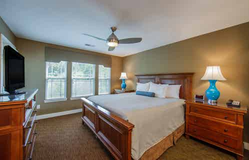 Large bedroom in a two-bedroom ambassador villa at the Holiday Hills Resort in Branson Missouri.