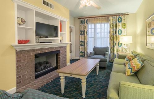 Living room area in a studio villa at South Beach Resort