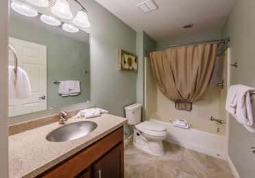 Guest bathroom in a two-bedroom ambassador villa at the Hill Country Resort in Canyon Lake, Texas.
