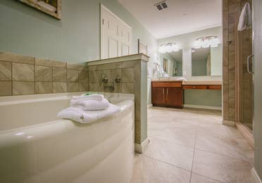 Master bath with tub in a two-bedroom ambassador villa at the Hill Country Resort in Canyon Lake, Texas.