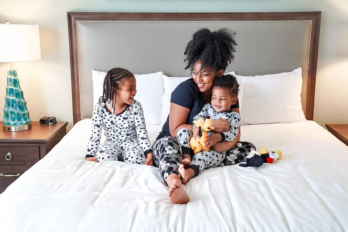 Featured Contributor, Tina Meeks, sits with her daughter and son in the villa of our Orange Lake resort in Orlando, Florida.