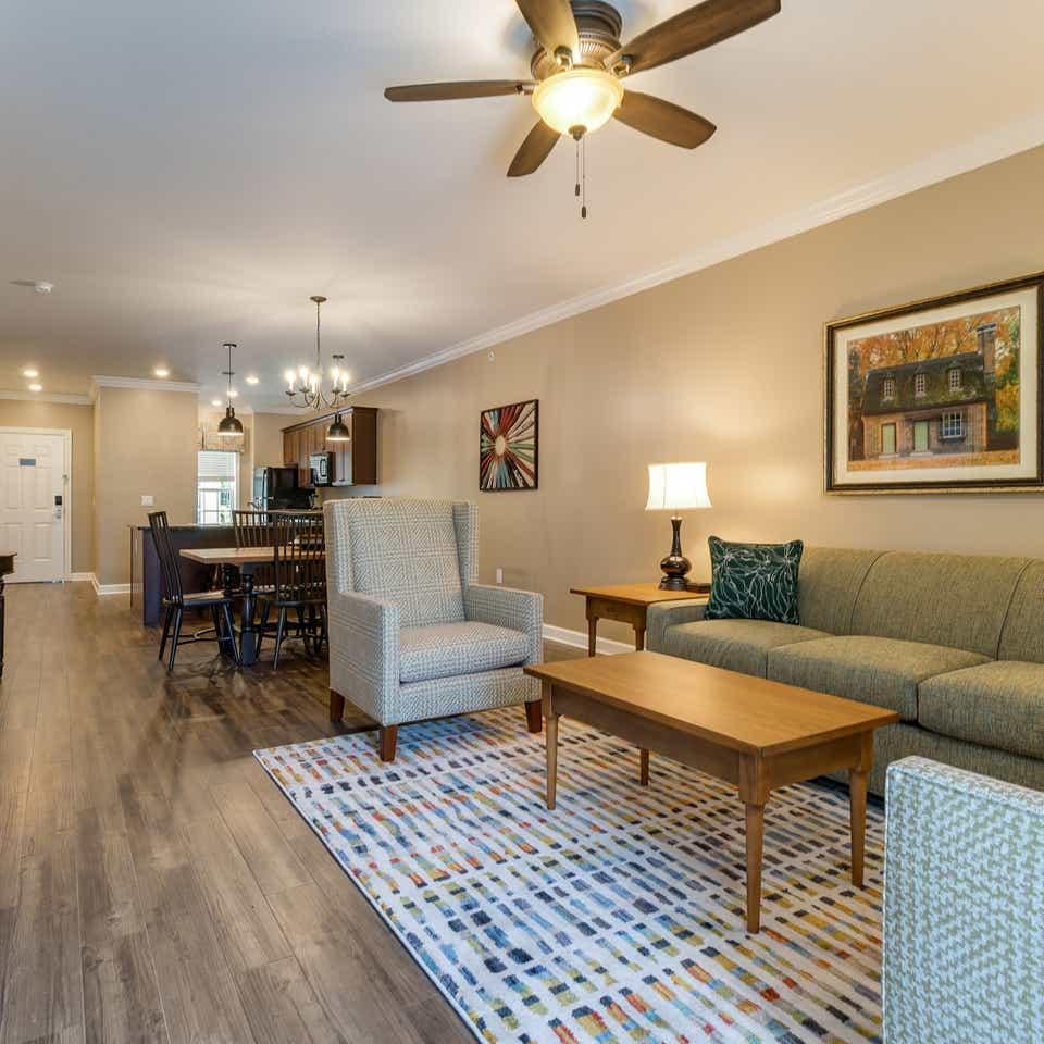 Two-bedroom villa livingroom at Williamsburg Resort