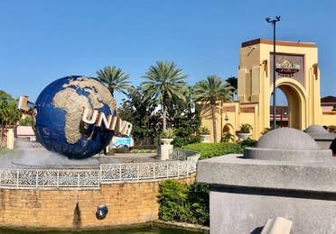 Universal Studio park entrance featuring the Universal Globe (left).