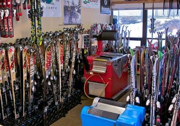 Skies at the Ski Shop at Tahoe Ridge Resort in Stateline, Nevada.