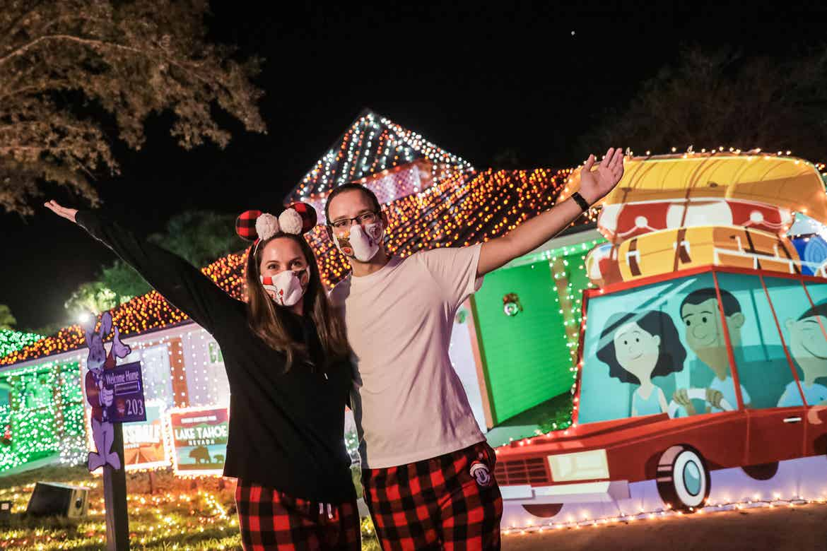 A former 'Make-a-Wish' child, Kyle Bergen (right) and his Fiancee Kristen Duvic (left) pose in front of our HICV villa exterior.