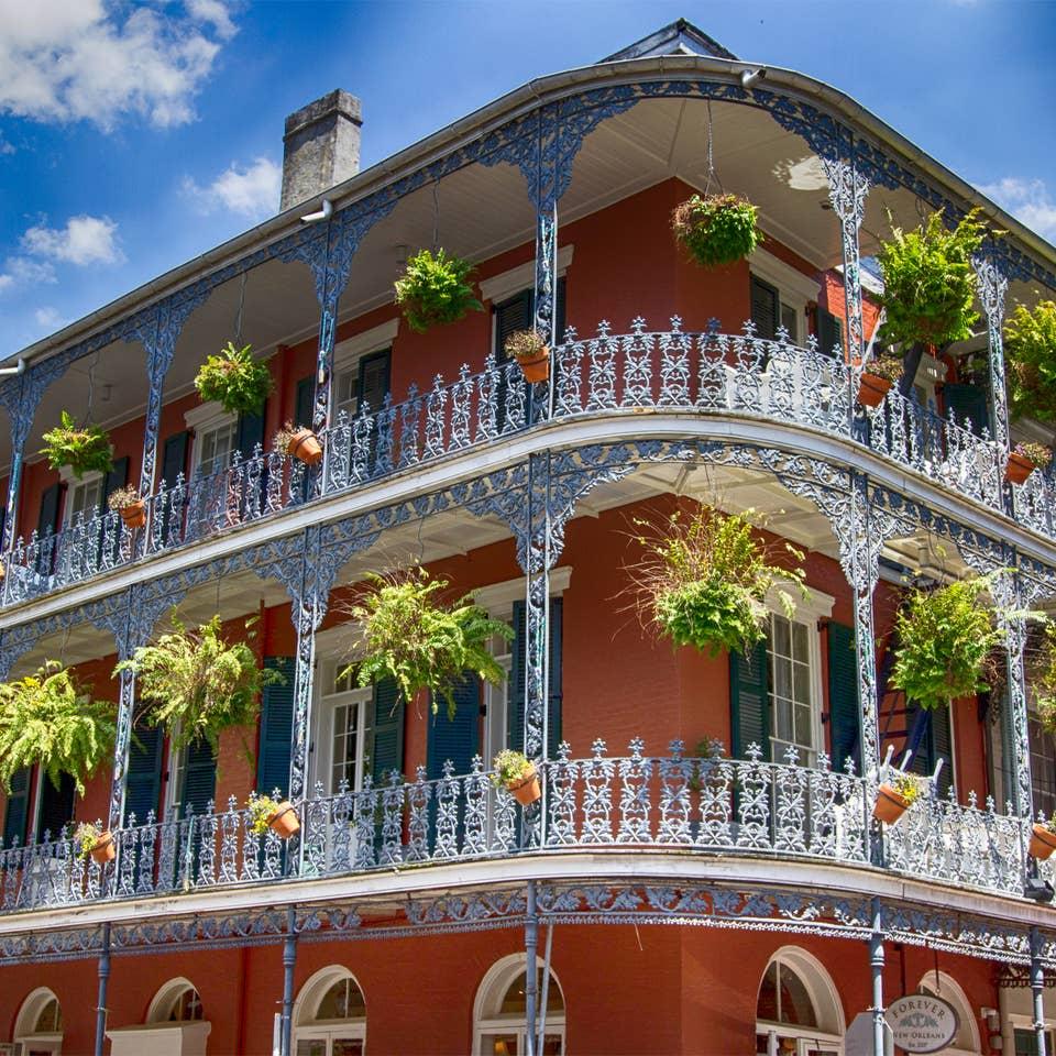 Buildings on Bourbon Street near New Orleans Resort.