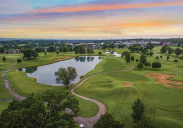 Ariel view of golf course at the Holiday Hills Resort in Branson, Missouri.