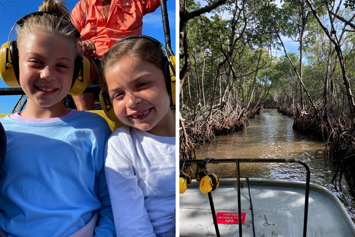 Left: A young caucasian girl (left) wearing a blue t-shirt and another young caucasian girl (right) wearing a long sleeve t-shirt on an airboat with yellow, noise-cancelling headphones. Right: A view from an airboat riding the Everglades surrounded by mangrove trees.