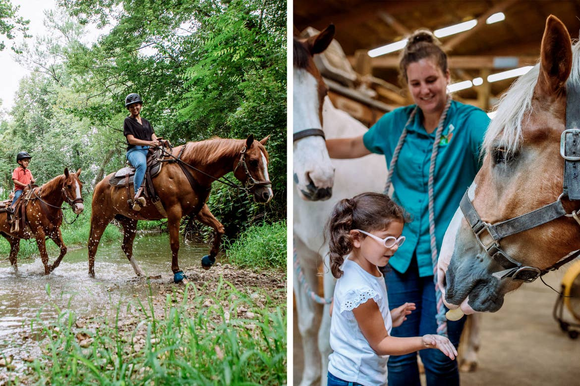 Left: A young boy (left) and a woman (right) ride horseback through a lush path. Right: A young girl (middle) feeds a horse with the help of a ranch hand.