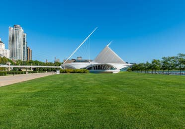 Outdoor view and entrance for the Milwaukee Art Museum near Lake Geneva Resort, Lake Geneva, WI.