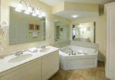 Master bathroom in a two bedroom presidential villa at Oak n' Spruce Resort in South Lee, Massachusetts