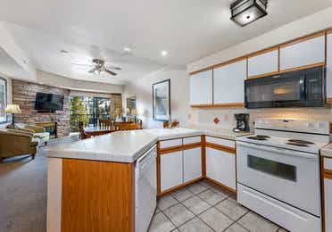 Kitchen in a Ridge Pointe two-bedroom villa at Tahoe Ridge Resort