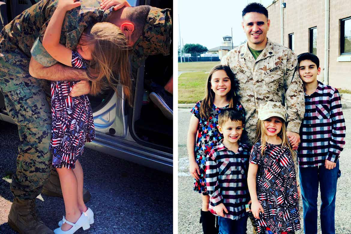 Left: Featured Member, Sara Perezes daughter (right) hugs her father (left) before he deploys. Right: Sara Perezes family stands together outdoor wearing patriotic-colored apparel.