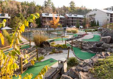 Several holes of a miniature golf course at Oak n' Spruce Resort in South Lee, Massachusetts