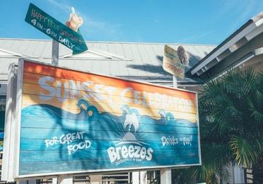 Breezes Restaurant & Bar signage in the West Village at Orange Lake Resort near Orlando, Florida