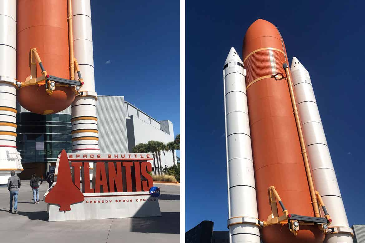 Left: The exterior of the Atlantis exhibit featuring the base of the decommissioned Atlantis rocket and sign that reads, 'Space Shuttle Atlantic, Kennedy Space Center' in Cape Canaveral, Florida. Right: The decommissioned Atlantis rocket.